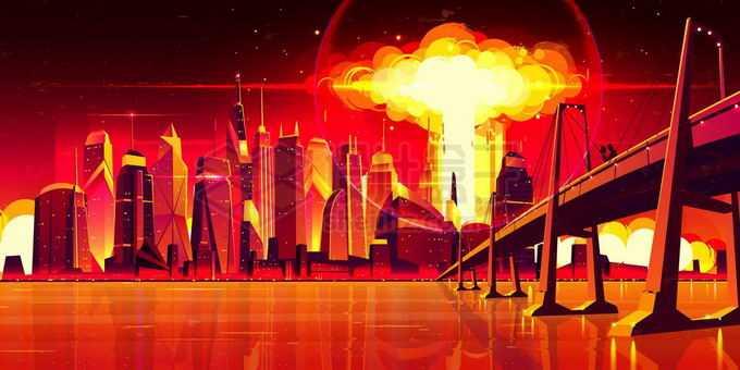 核武器在河对岸的城市中爆炸将世界照亮漫画插画7327629矢量图片免抠素材免费下载