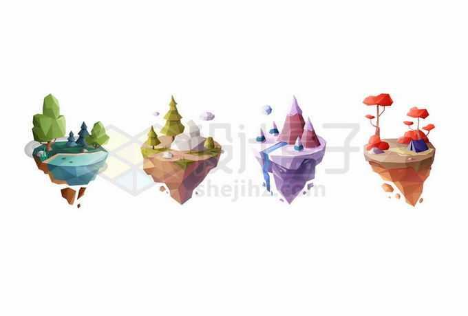 4款低多边形风格悬空岛悬浮岛春夏秋冬四季风景1010479矢量图片免抠素材免费下载