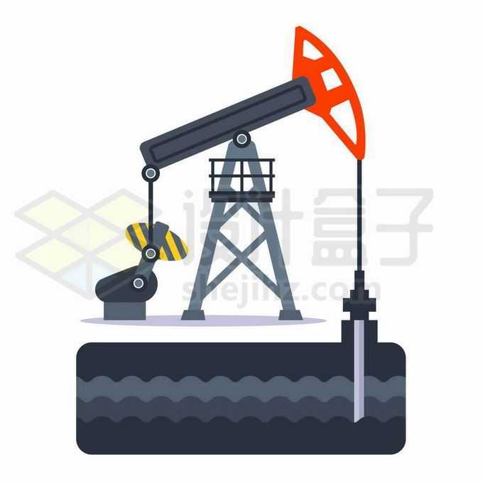 扁平化风格石油开采工业的磕头机正在开采石油示意图9041584矢量图片免抠素材免费下载