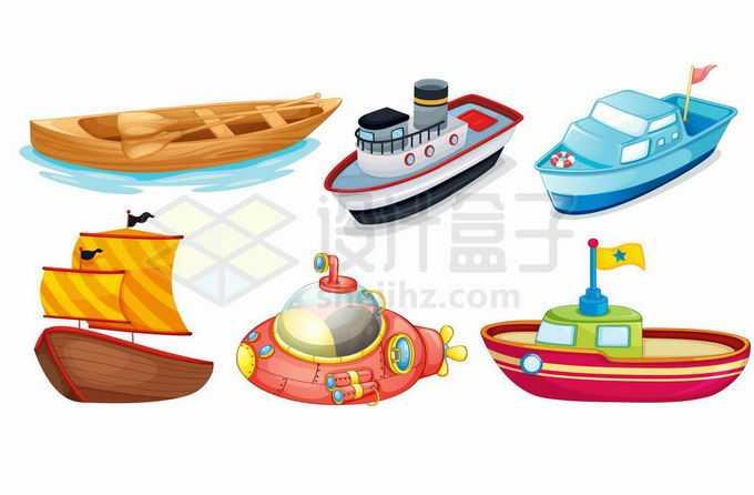 6款卡通小木船巡逻艇风帆船潜水艇等船舶3933904矢量图片免抠素材免费下载