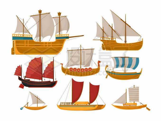 各种复古风格的风帆战舰和中国古代帆船5257986矢量图片免抠素材免费下载