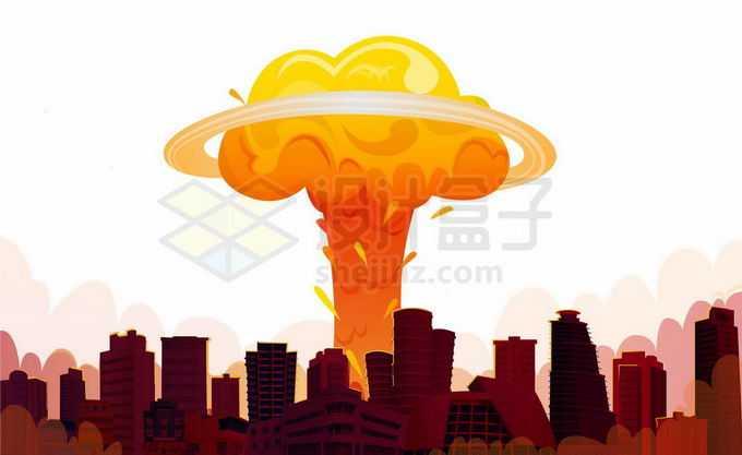 远处原子弹爆炸的蘑菇云和近处暗红色的城市废墟世界末日景象7756224矢量图片免抠素材免费下载