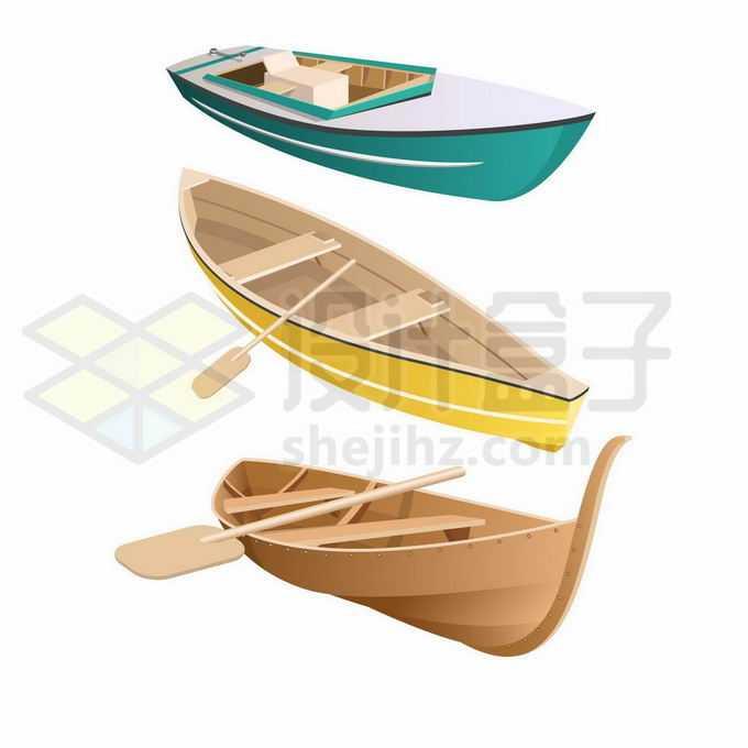 3款小木船和船桨5300385矢量图片免抠素材免费下载