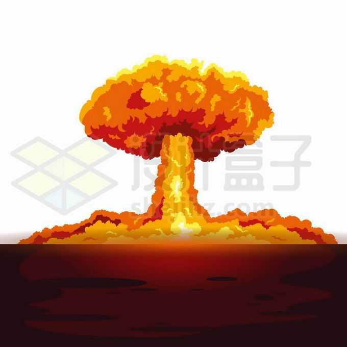 远处原子弹核武器爆炸产生的巨大蘑菇云卡通插画4379174矢量图片免抠素材免费下载