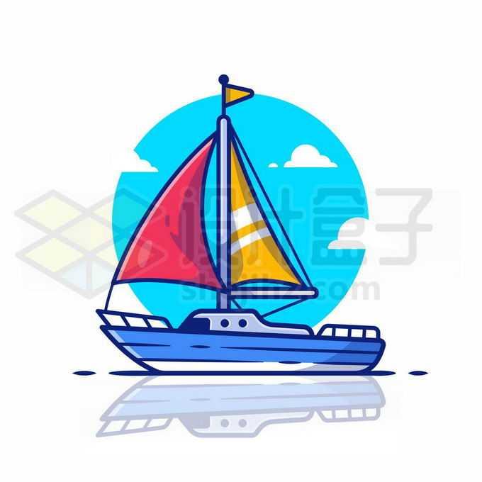 MBE风格卡通帆船游艇船舶3546091矢量图片免抠素材免费下载