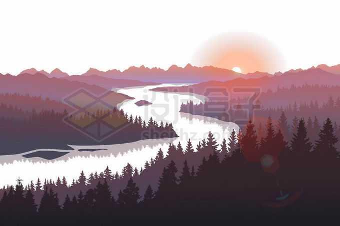 一条大河两岸的森林剪影和远处的落日余晖风景插画6378026矢量图片免抠素材免费下载