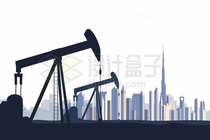 远处的迪拜城市天际线和近处的石油开采工业的磕头机剪影9301298矢量图片免抠素材免费下载