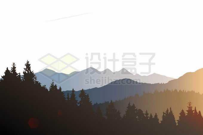 近处的森林剪影和远处的群山落日日出余晖风景插画9295802矢量图片免抠素材免费下载
