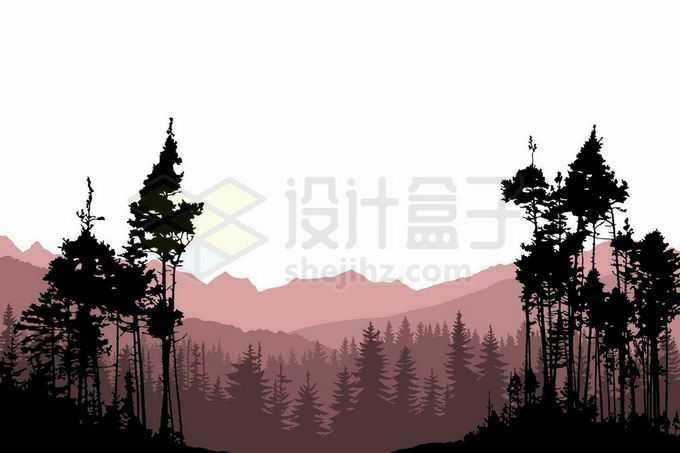 近处的森林大树剪影和远处的群山风景插画9860444矢量图片免抠素材免费下载