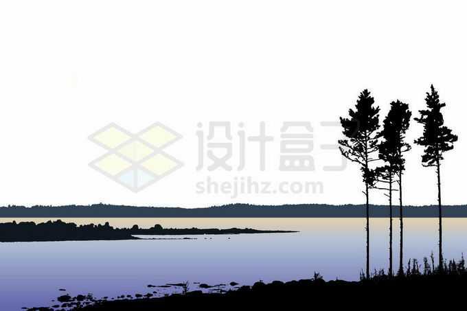 湖边河边的大树剪影和远处的森林风景插画7435405矢量图片免抠素材免费下载