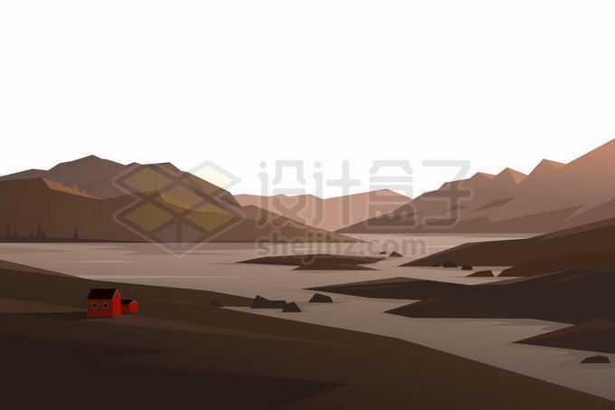 山间的湖泊河流和河边的小房子以及远处的大山风景插画6409187矢量图片免抠素材免费下载