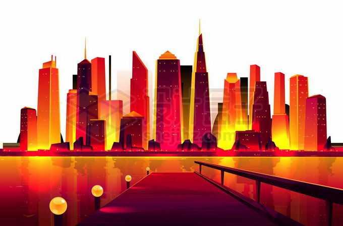 河对岸火红的城市建筑天际线超现实主义插画9106979矢量图片免抠素材免费下载