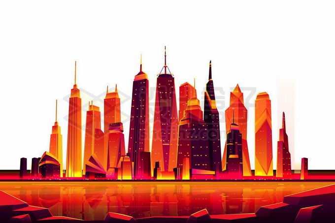 河对岸火红的城市建筑天际线超现实主义插画漫画3593598矢量图片免抠素材免费下载