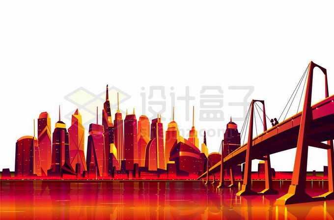 河对岸火红的城市建筑天际线和近处的大桥超现实主义插画4602289矢量图片免抠素材免费下载