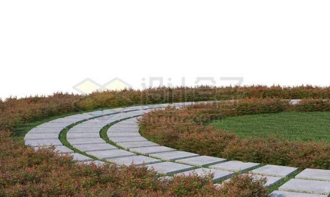 公园里的环形石板路面和周围的花圃7427677PSD免抠图片素材