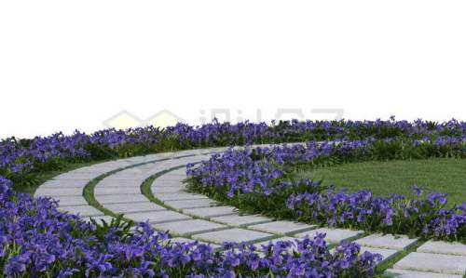 公园里的环形石板路面和周围的紫色花圃2685929PSD免抠图片素材