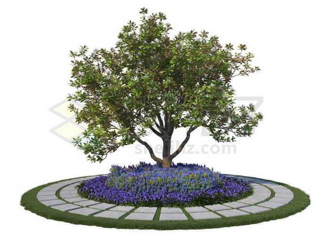 公园环形石板路面和中间的大树以及树下的紫色花草1023784PSD免抠图片素材