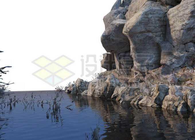 岩石悬崖旁边的水池湖水3406514PSD免抠图片素材