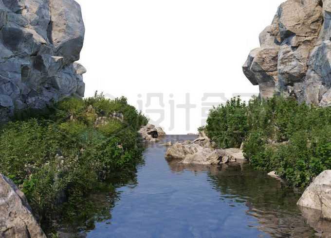岩石悬崖峭壁峡谷中的湖水和两岸茂盛的植被3412495PSD免抠图片素材