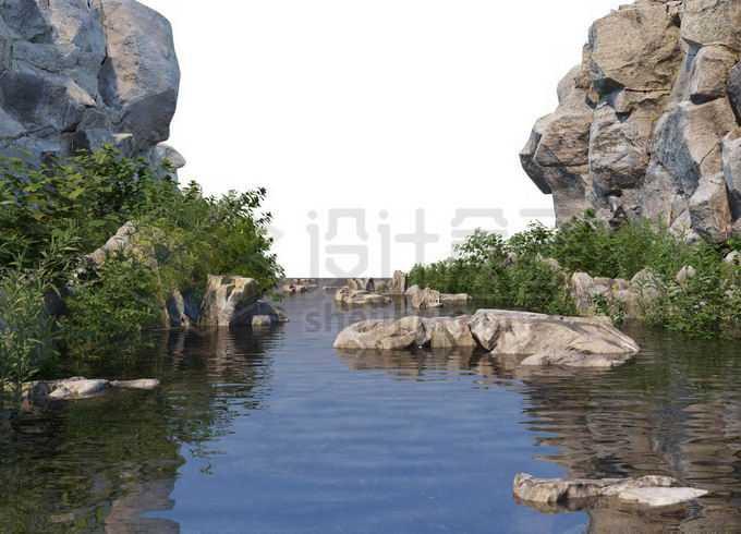 岩石悬崖峭壁峡谷中的湖水和湖岸的植被以及石头小岛6530303PSD免抠图片素材