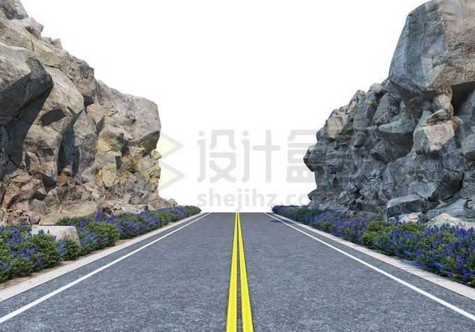 岩石悬崖峭壁峡谷中的公路道路3921912PSD免抠图片素材