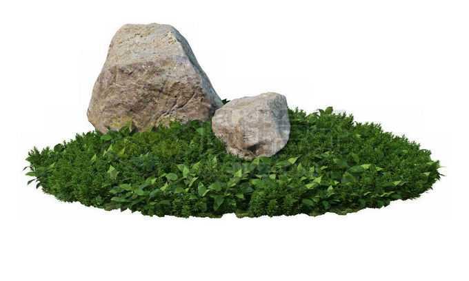 日本园林花圃里的绿色草地茂盛植被和中间的两块大石头1726534PSD免抠图片素材
