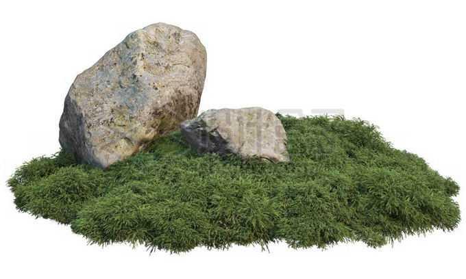 青草地上的两块巨大石头5168537PSD免抠图片素材
