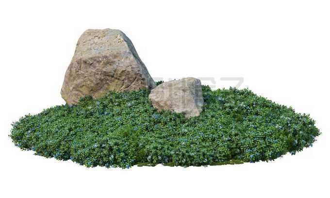 青草地上的两块巨大石块1748075PSD免抠图片素材