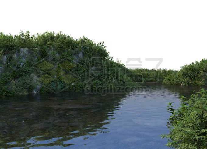 平静的河水两旁茂盛的森林和灌木丛8165761PSD免抠图片素材