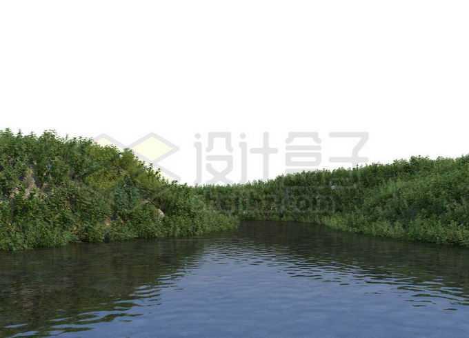 平静小河河水两旁的草地和灌木丛4121127PSD免抠图片素材