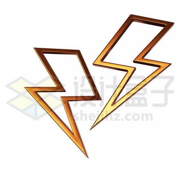3D立体风格金色金属光泽空心闪电图案4144615PSD免抠图片素材