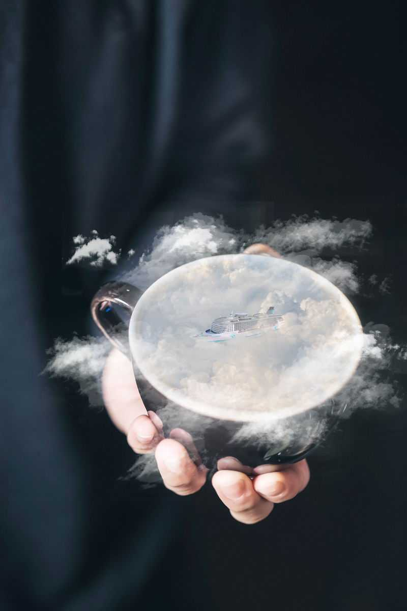 在咖啡杯中创建超现实云海【附免费素材下载】