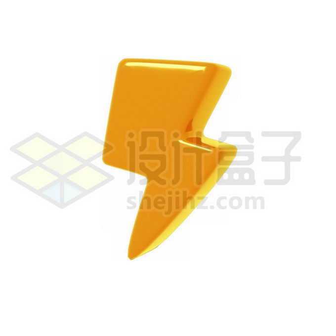 3D立体风格金色金属光泽卡通闪电图案9767144PSD免抠图片素材