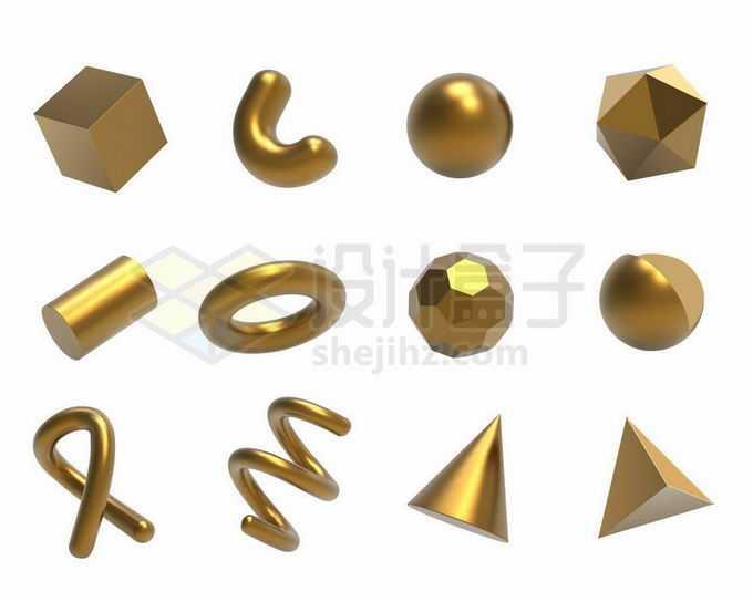 12款金色金属光泽3D立方体形状3663444矢量图片免抠素材免费下载
