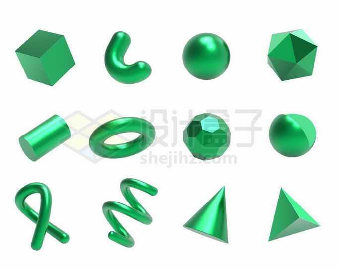 12款绿色金属光泽3D立方体形状2989321矢量图片免抠素材免费下载