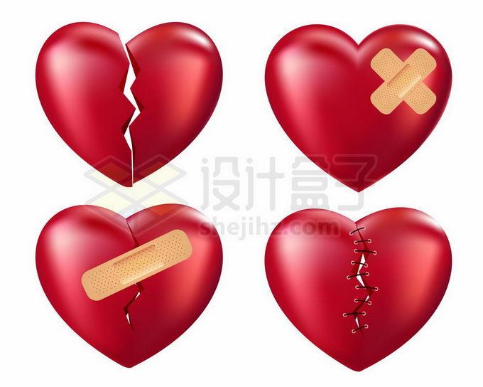4颗破碎的红心象征了爱情破裂无法弥补5135190矢量图片免抠素材免费下载