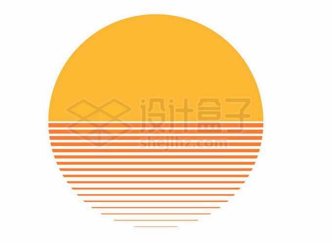 简约风格海面上的日出日落图案6268026矢量图片免抠素材免费下载