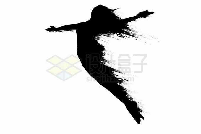 抽象动感风格张开双臂跳跃起来的女人剪影9841681矢量图片免抠素材免费下载