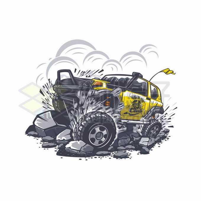 疯狂的越野车在石滩上前行动感插画9400117矢量图片免抠素材免费下载
