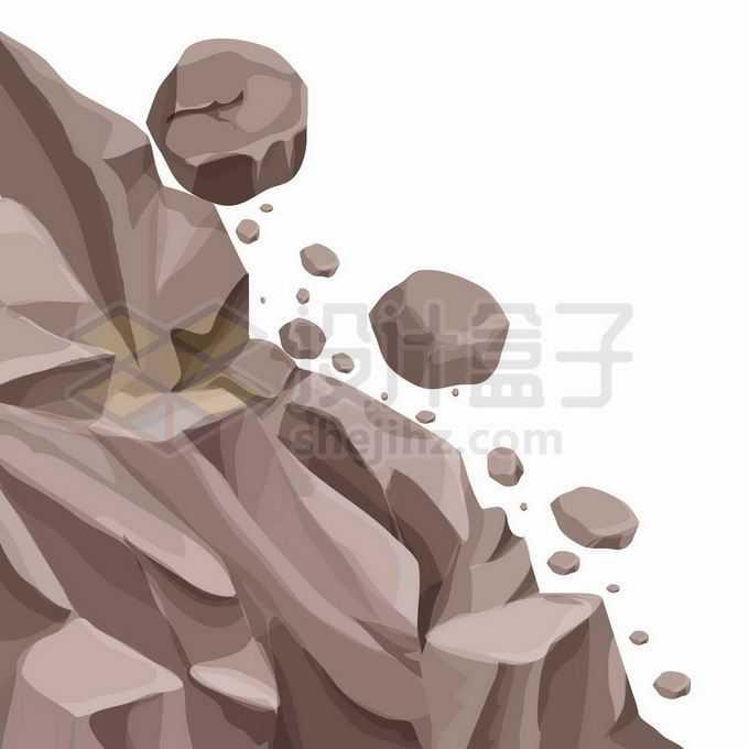 山坡上滚落的石头山体滑坡小心落石7307351矢量图片免抠素材免费下载