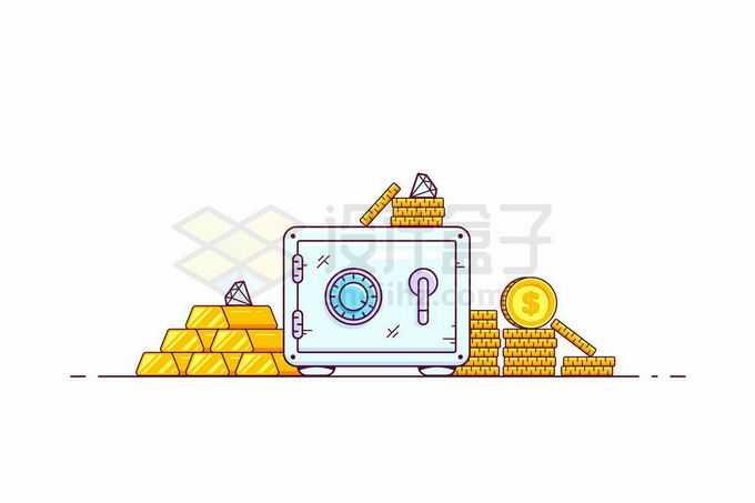 MBE风格保险柜和周围的金条金币和钻石4801676矢量图片免抠素材免费下载
