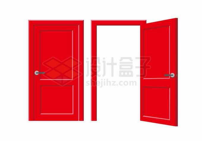 关闭和打开的红色木门房门大门1183943矢量图片免抠素材免费下载