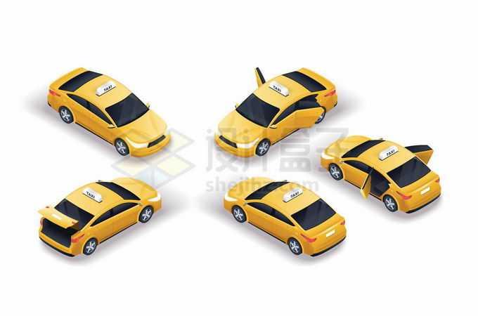 5种不同角度的黄色出租车小汽车6621829矢量图片免抠素材免费下载