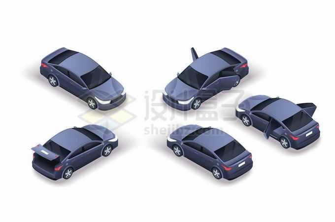 5种不同角度的深灰色小汽车3937893矢量图片免抠素材免费下载