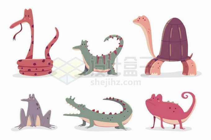 卡通蛇蜥蜴乌龟青蛙鳄鱼和变色龙等爬行动物两栖动物8255372矢量图片免抠素材免费下载