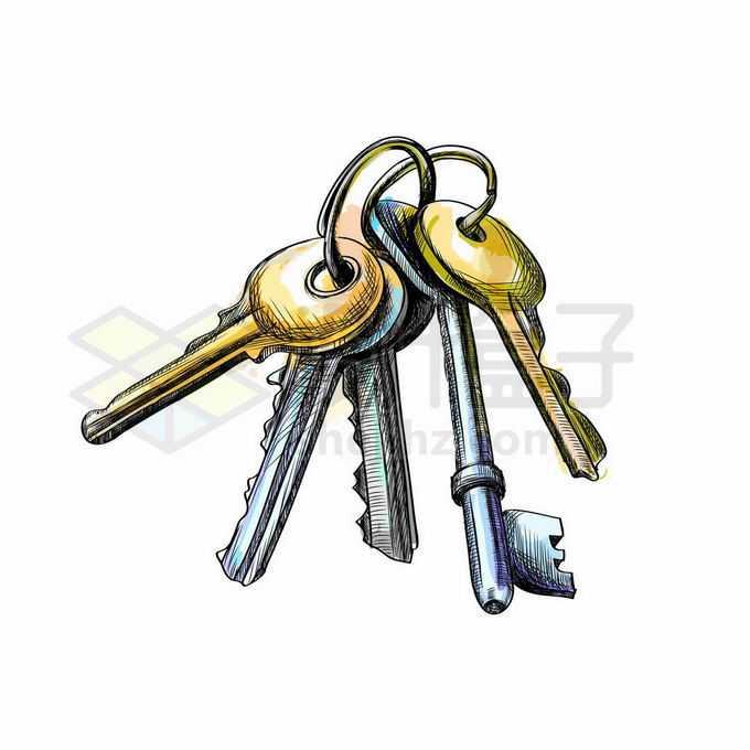 一串钥匙手绘插画7191817矢量图片免抠素材免费下载