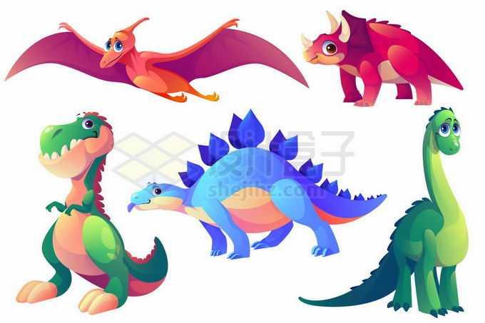 卡通翼龙三角龙霸王龙剑龙梁龙等恐龙9845867矢量图片免抠素材免费下载