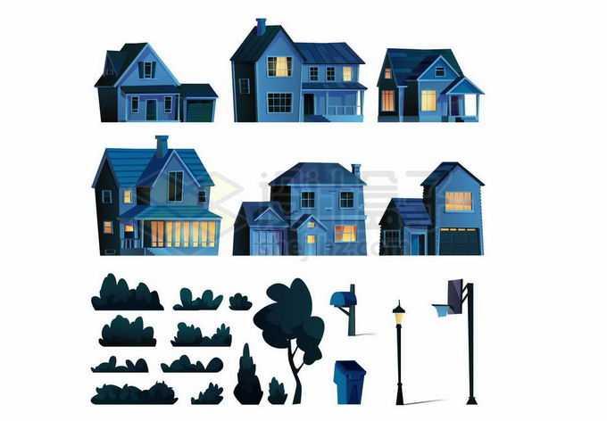 夜晚亮着灯的房子和草丛路灯等1727954矢量图片免抠素材免费下载