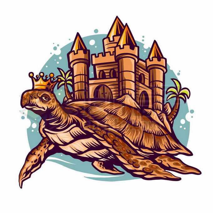 戴着皇冠的巨大乌龟驮着一座城堡抽象插画3632070矢量图片免抠素材免费下载