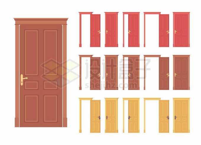 各种颜色打开和关闭的房门大门8265150矢量图片免抠素材免费下载